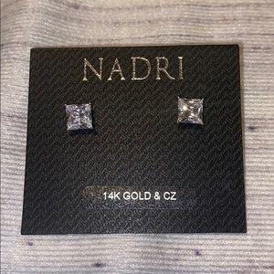 NADRI 14K GOLD & CZ STUD EARRINGS